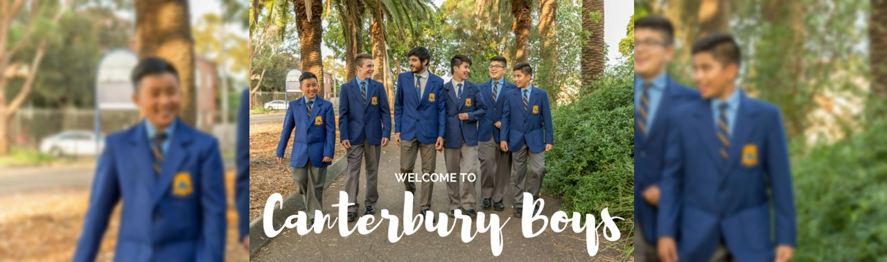 Canterbury Boys High School students walking on path