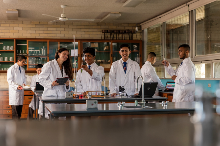 A number of students participating in a science lesson.